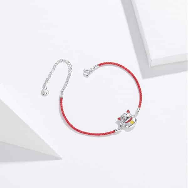 Bracelet Porte-Bonheur Maneki Neko Plat