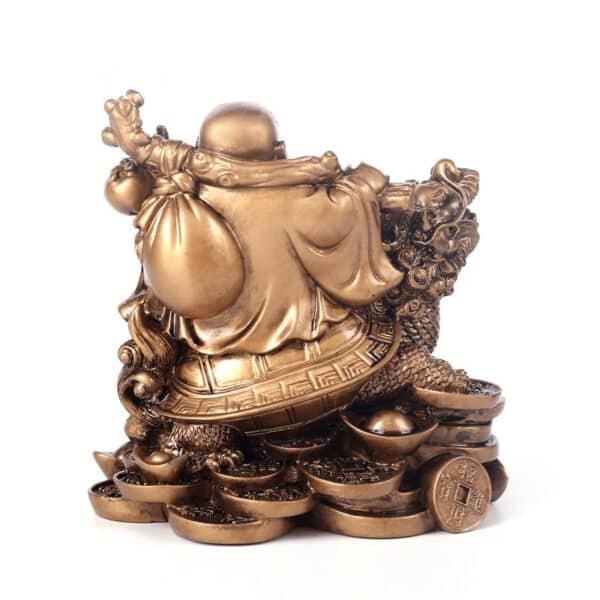 Statuette Porte-Bonheur Bouddha Rieur Bronze Dos