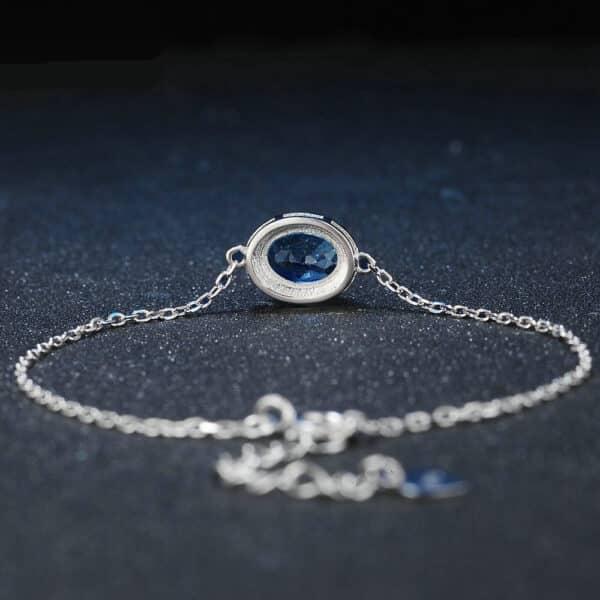 Bracelet Topaze Solitaire Bleu Pierre