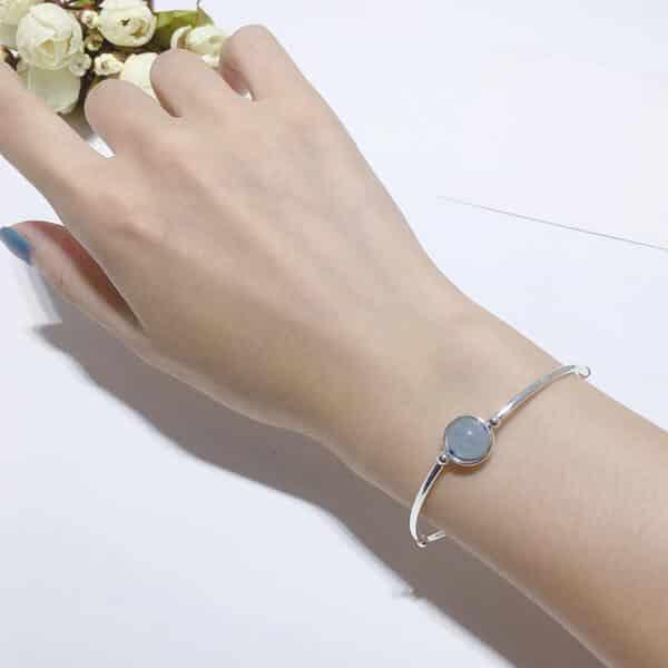 Bracelet Pierre Aigue-Marine Porte-Bonheur Perle