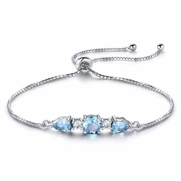 Bracelet Pierres Topaze Bleu