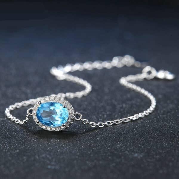 Bracelet Pierre Topaze Solitaire Bleu