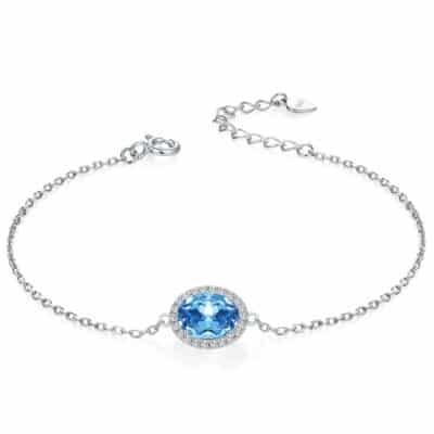 Bracelet Pierre Topaze Bleu Solitaire