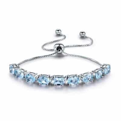 Bracelet Pierres Porte-Bonheur Topaze Bleu