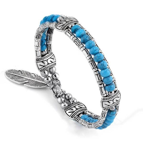 Bracelet Amérindien Plume Bleu