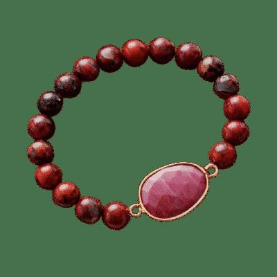 Bracelet Pierres Porte-Bonheur Jaspe Rouge Médaillon