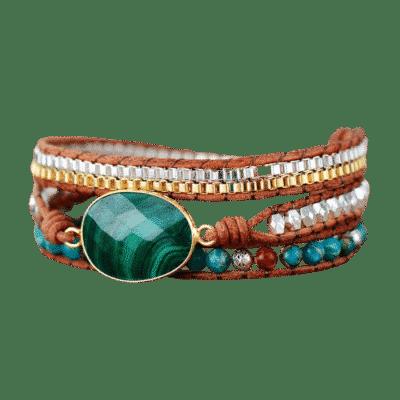 Bracelet Pierre Porte-Bonheur Malachite Cuir