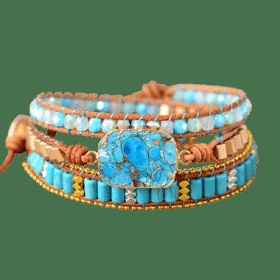 Bracelet Pierre Porte-Bonheur Cuir Turquoise