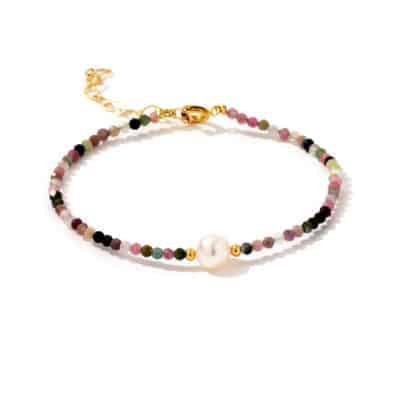 Bracelet Pierres Tourmaline Multicolore Porte-Bonheur