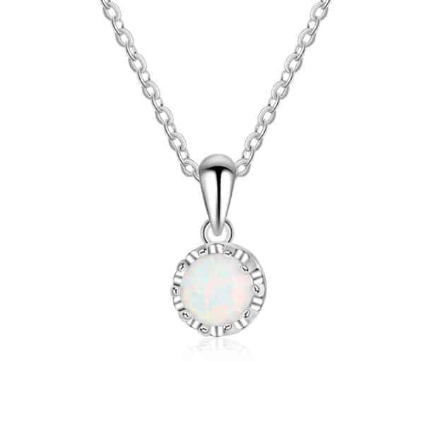 Collier Perle Porte-Bonheur Opale Blanche
