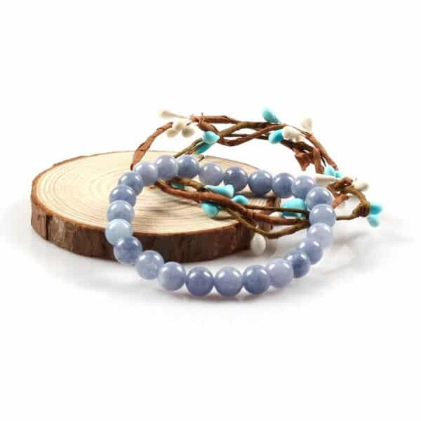 Bracelet Perles Calcédoine Porte-Bonheur