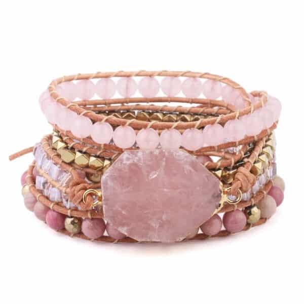 Bracelet Pierres Porte-Bonheur Quartz Rose Cuir