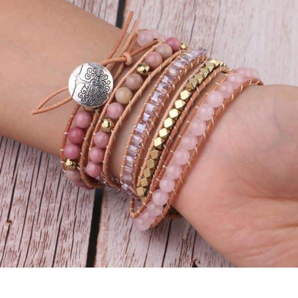 Bracelet Pierres Cuir Porte-Bonheur Quartz Rose