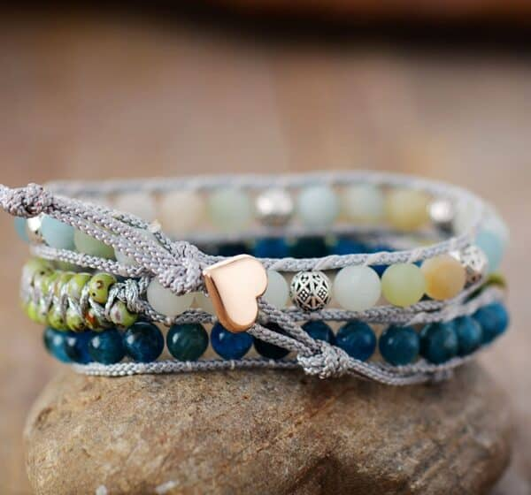 Bracelet Boho Pierres Porte-Bonheur Apatite Amazonite