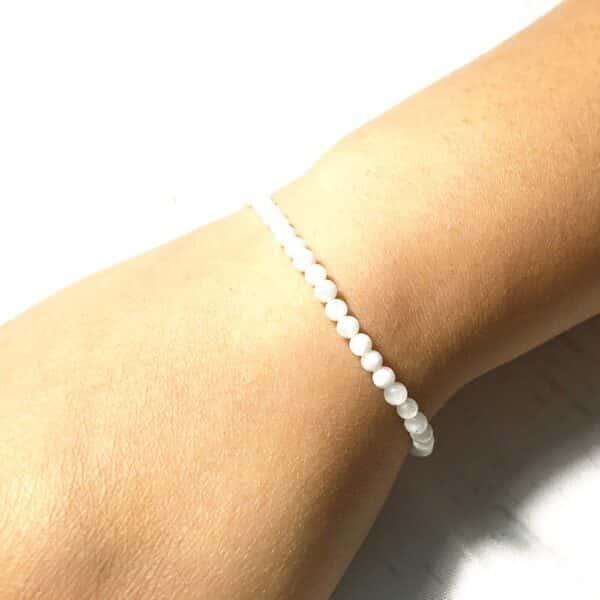 Bracelet Petites Perles Porte-Bonheur Pierre de Lune