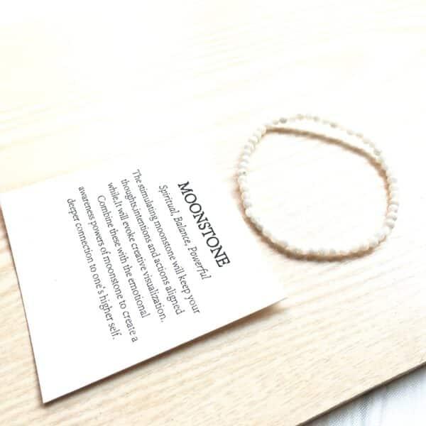 Bracelet Pierre de Lune Petites Perles Porte-Bonheur