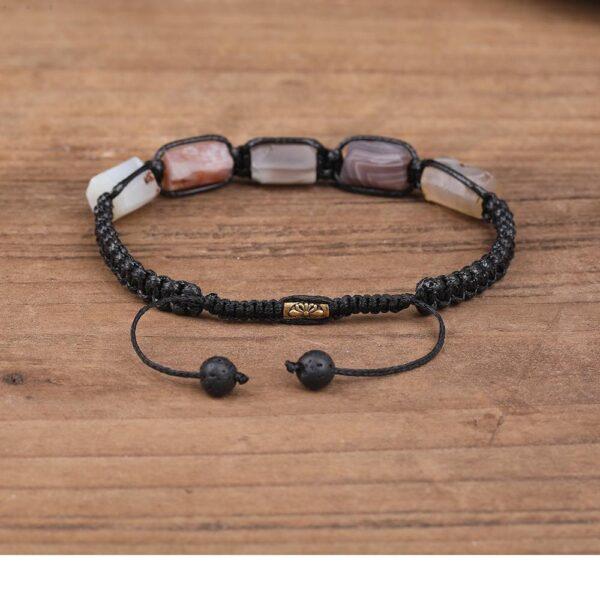 Bracelet Pierres Porte-Bonheur Agate Cordon Botswana
