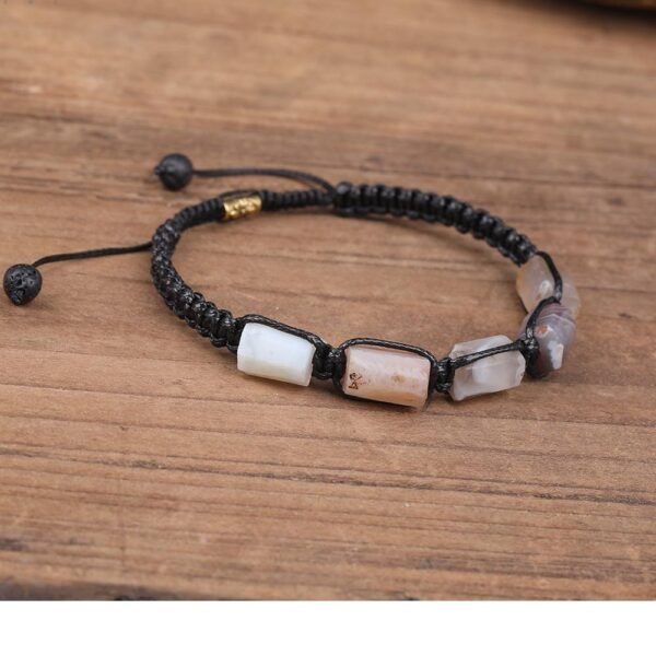 Bracelet Cordon Pierres Porte-Bonheur Agate Botswana