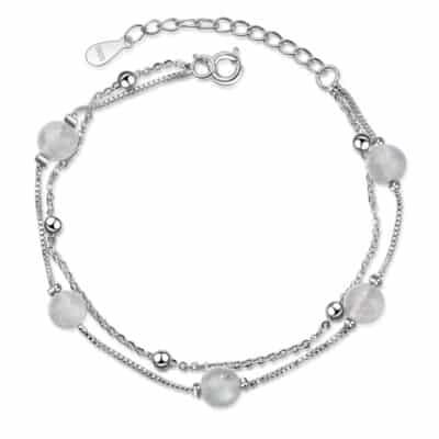 Bracelet Porte-Bonheur 5Perles Pierre de Lune