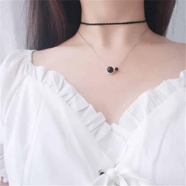 Collier Porte-Bonheur Perles Onyx Double