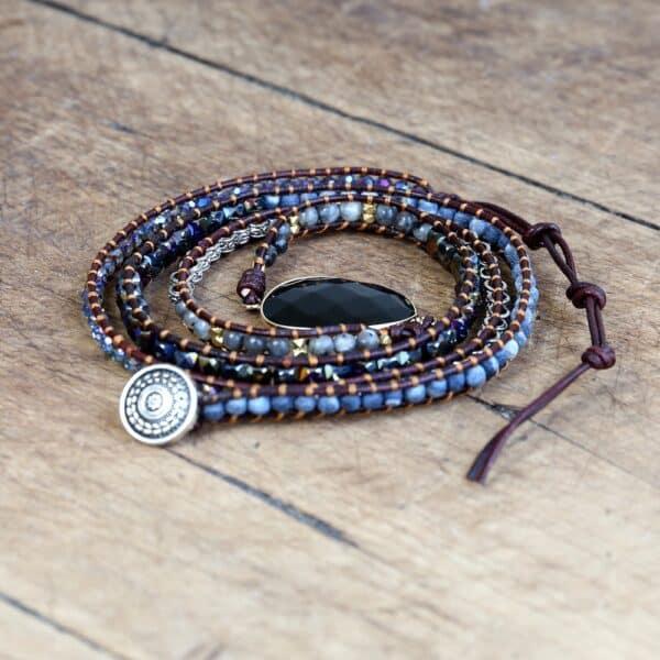 Bracelet Pierre Porte-Bonheur Onyx Boho Cuir