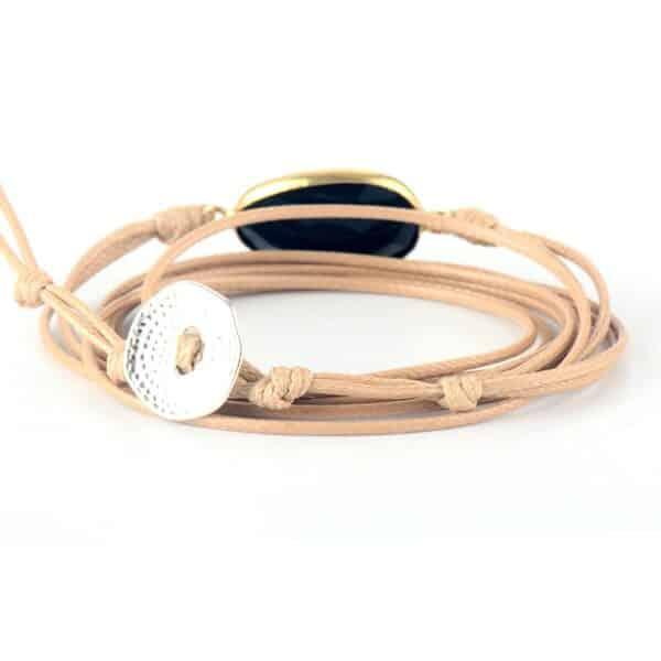 Bracelet Pierre Porte-Bonheur Ficelle Onyx