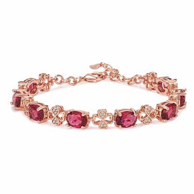 Bracelet Pierres Porte-Bonheur Tourmaline Rose Trèfle