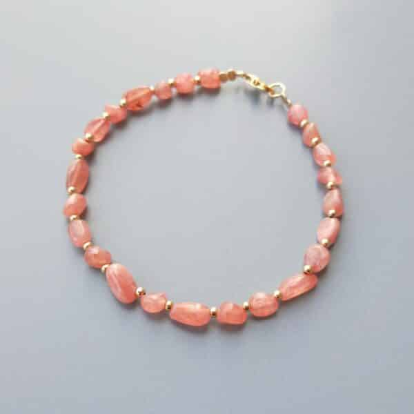 Bracelet Pierres Porte-Bonheur Or Rhodochrosite
