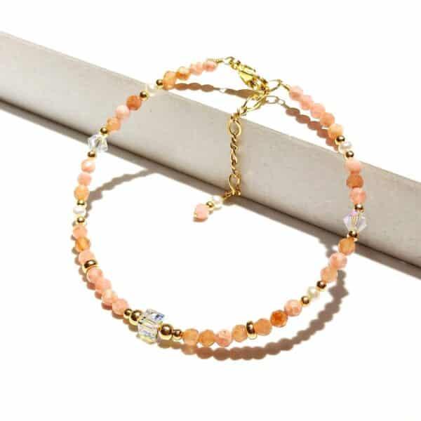 Bracelet Pierres Porte-Bonheur Rhodochrosite Autrichien Cristal