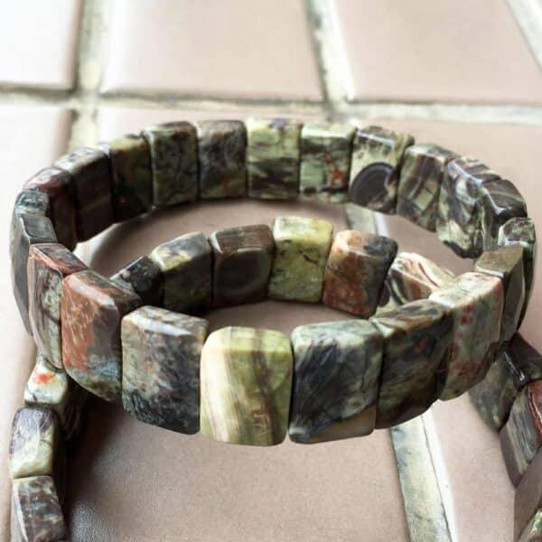 Bracelet Pierres Porte-Bonheur Jaspe Rectangle Picasso