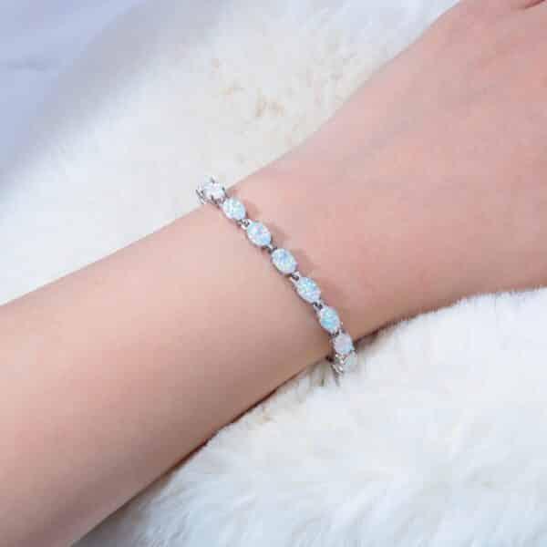 Bracelet Porte-Bonheur Opale Blanche Pierres