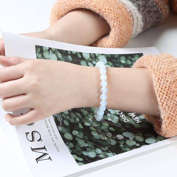 Bracelet Porte-Bonheur Blanche Opale Perles