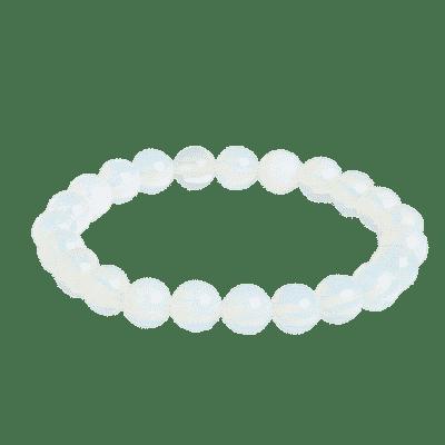 Bracelet Perles Porte-Bonheur Opale Blanche