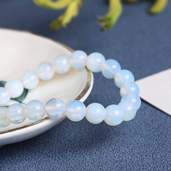 Bracelet Perles Porte-Bonheur Blanche Opale