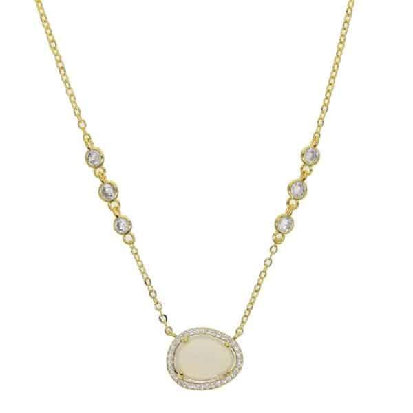 Collier Galet Porte-Bonheur Opale Blanche Or
