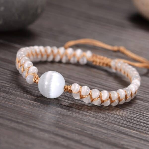 Bracelet Pierres Porte-Bonheur Tressé Opale Blanche