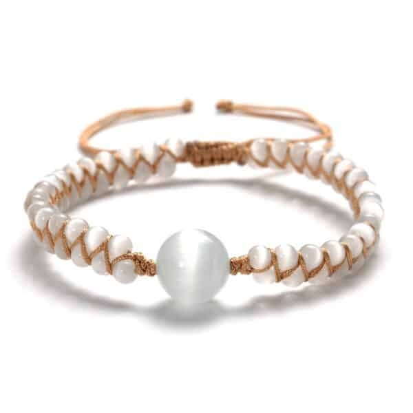 Bracelet Pierres Porte-Bonheur Opale Blanche Tressé