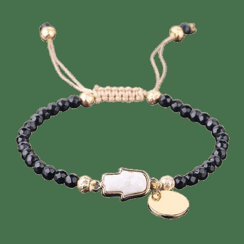 Bracelet Pierres Porte-Bonheur Tourmaline Noire Main de Fatma