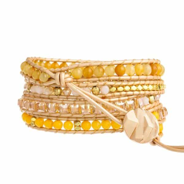 Bracelet Pierres Porte-Bonheur Jaune Boho Topaze