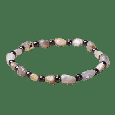 Bracelet Pierres Porte-Bonheur Agate Botswana Hématite