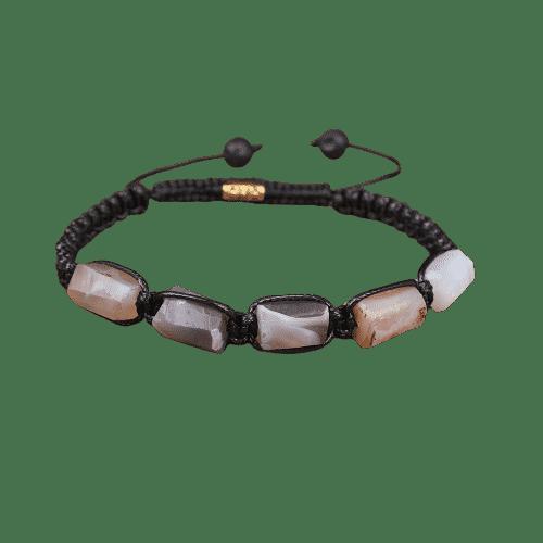 Bracelet Pierres Porte-Bonheur Agate Botswana Cordon