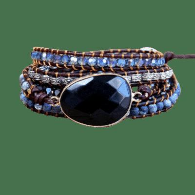 Bracelet Pierre Porte-Bonheur Onyx Cuir Boho